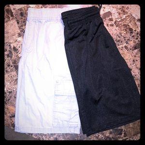 2 pairs of Boys shorts Gray Cargo & Black Shiny.